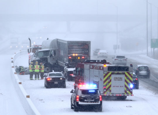 Jack Knifed Tractor Trailer Highway 401 Cobourg February 22, 2021193