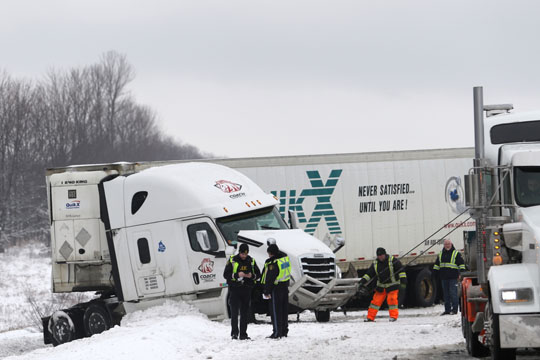 Jack Knifed Tractor Trailer Highway 401 Newtonville February 22, 2021200