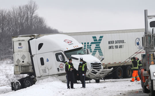 Jack Knifed Tractor Trailer Highway 401 Newtonville February 22, 2021201