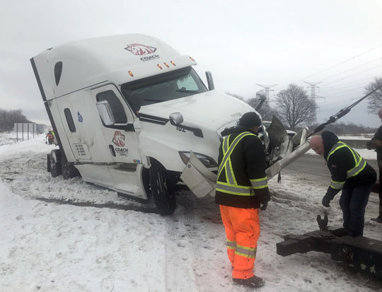 Jack Knifed Tractor Trailer Highway 401 Newtonville February 22, 2021207